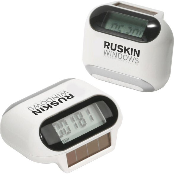 White / Silver Solar Powered Pedometer