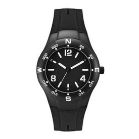 Imprinted Matte Black Sports Styles Unisex Watch