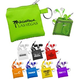 Sporty Pouch and Colorful Ear Buds Imprinted with Your Logo