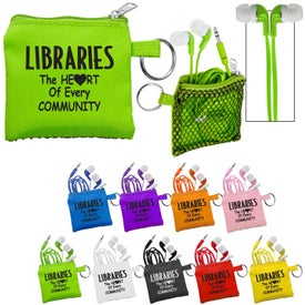 Sporty Pouch and Colorful Premium Ear Buds Printed with Your Logo