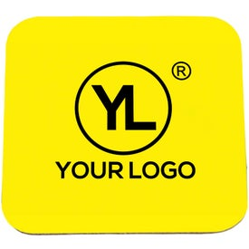 """Square Coaster with Black Rubber Backing (1/8"""")"""