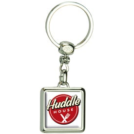 Square Die Cast Metal Domed Keytag