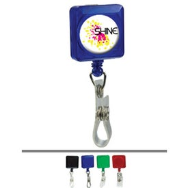 Square Domed Retractable Badge Holders with Slip On Clip