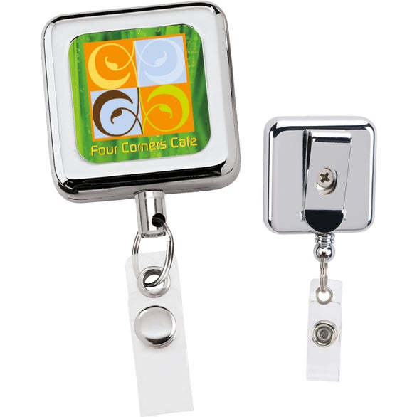 Silver Square Metal Retract Badge Holder