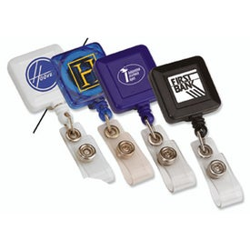 Imprinted Square Retractable Badge Holder