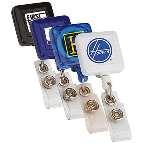 "Square Retractable Badge Holder (24"" Cord)"
