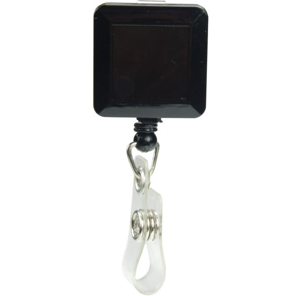 Square Retractable Badge Holder With Slip On Clip