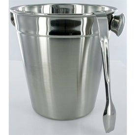 Stainless Ice Bucket with Tongs - Empty for Your Company