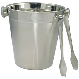 Stainless Ice Bucket with Tongs - Empty