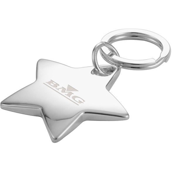 Silver Star-Shaped Sterling Silver Key Ring