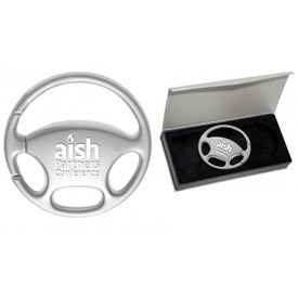 Steering Wheel Keychain Imprinted with Your Logo