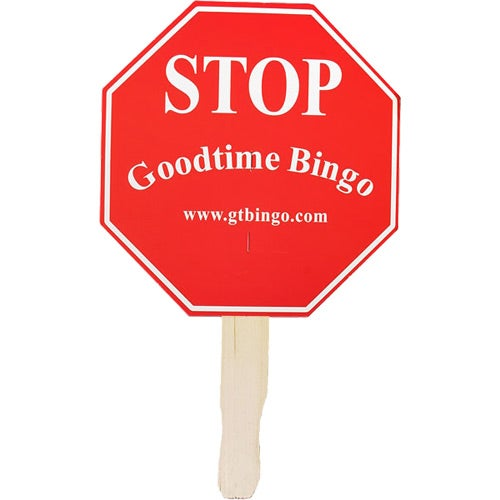 White Stop Sign Hand Fan