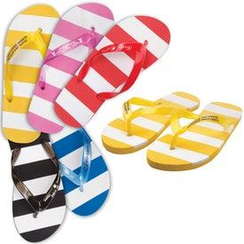 Striped Adult Flip Flops for Advertising