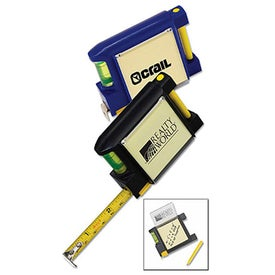 Tape Measure with Level Note Pad and Pen