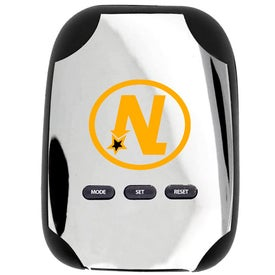 Classic Chrome Pedometer with Your Slogan