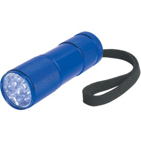 The Stubby Aluminum LED Flashlight With Strap Imprinted with Your Logo