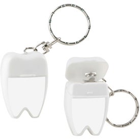 Monogrammed Tooth Shaped Dental Floss with Keychain