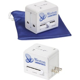 Logo Travel Cube Power Adapter with USB Charge