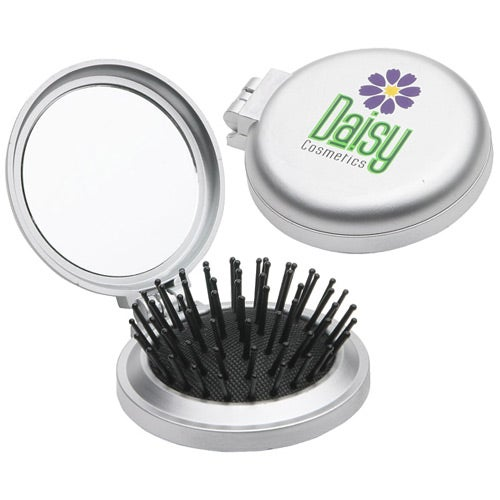 Silver Travel Disk Brush And Mirror