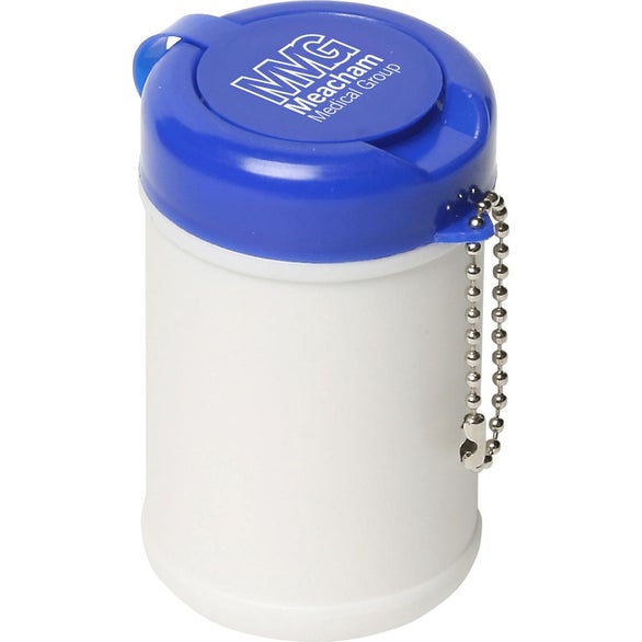 Blue / White Travel Well Sanitizer Wipes Key Chain