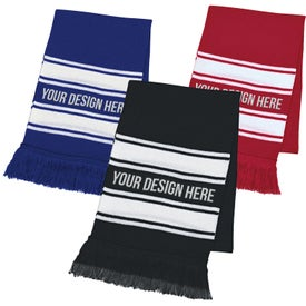 Two-Tone Knit Scarf With Fringe (Unisex)