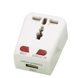 Universal Travel Adapter with USB Port Printed with Your Logo