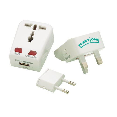 White Universal Travel Adapter with USB Port