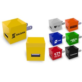 Square USB Wall Charger with Your Logo