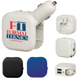 USB and AC Car Charger with Dual USB Ports