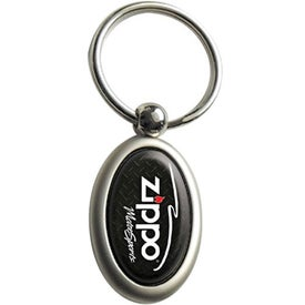 Vertical Chrome Oval Keychain Printed with Your Logo