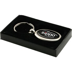 Vertical Chrome Oval Keychain Imprinted with Your Logo