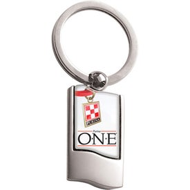 Branded Vertical Chrome Rectangle Keychain