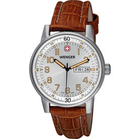 Wenger Commando Day-Date XL Brown Strap Watch Branded with Your Logo
