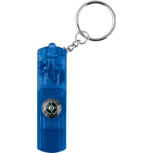 Blue Whistle Keychain Light with Compass