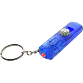 Whistle, Light, and Compass Key Chain