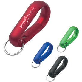 Wide Aluminum Carabiner With Key Ring Imprinted with Your Logo