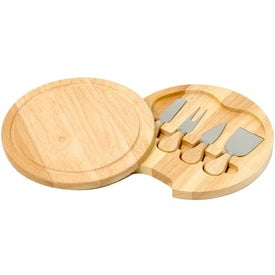 Printed Wood Swivel Cheese Set