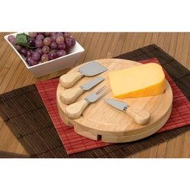 Printed Wood Swivel Cheese Set