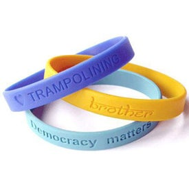 Customized Debossed Color Filled Silicone Wristband Keychain