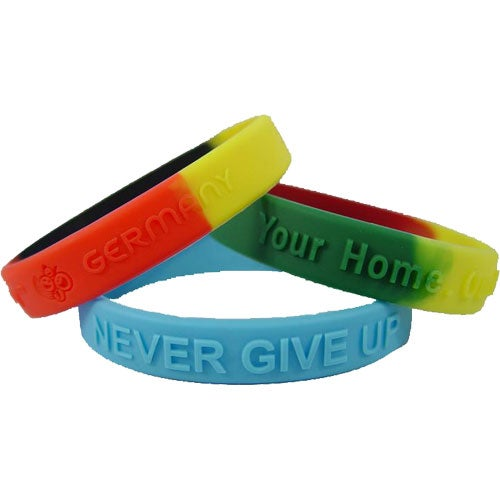 Embossed Color Filled Silicone Wristband Keychain