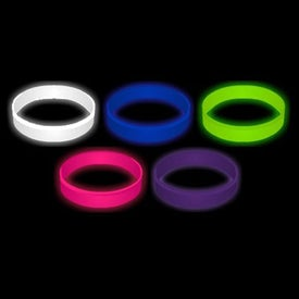Debossed Glow In The Dark Silicone Wristband Keychain