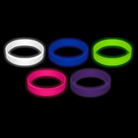 Embossed Glow In The Dark Silicone Wristband Keychain