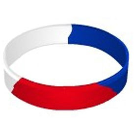 Branded Debossed Color Filled Segmented Wristband Keychain