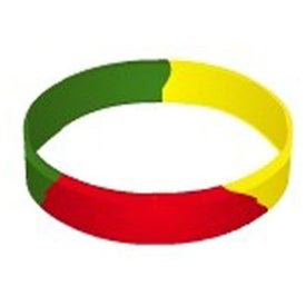 Printed Debossed Color Filled Segmented Wristband Keychain