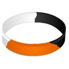 Branded Embossed Segmented Silicone Wristband Keychain
