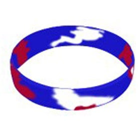 Logo Debossed Color Filled Swirl Silicone Wristband Keychain