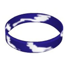 Printed Debossed Color Filled Swirl Silicone Wristband Keychain