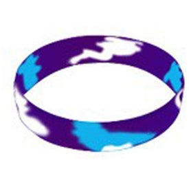 Company Color Filled Swirl Silicone Wristband Keychain