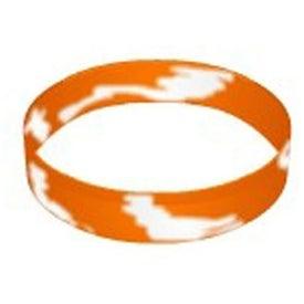 Logo Debossed Swirl Silicone Wristband Keychain