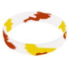 Printed Awareness Color Filled Swirl Silicone Wristband Keychain